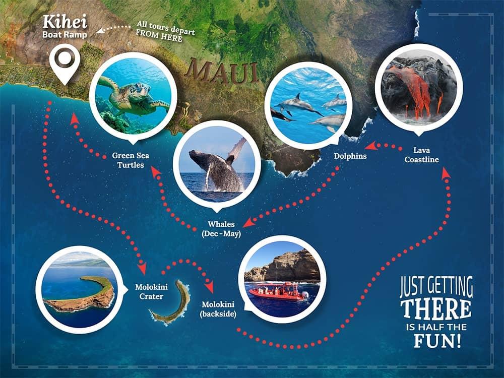 maui snorkeling to molokini map